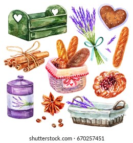 Watercolor hand painting Provence set.Wicker basket for bread,Baguette,lavender,cinnamon,grain coffee,wooden basket,jar of spices,bun with cherry,vintage heart illustrations isolated white background.