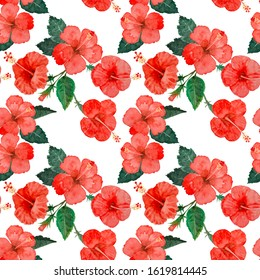 Watercolor hand painting seamless pattern, red hibiscus flower blossom, green leaves on white background, Natural tropical plant graphic and vibrant repeated print textile, fabric, vintage wallpaper