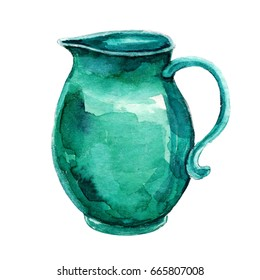 Watercolor hand painting turquoise jug of Provence illustration isolated white background. Vintage hand drawn sketch design. Provence style
