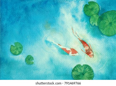 Watercolor hand painting, two koi carp fish in pond, symbol of good luck and prosperity