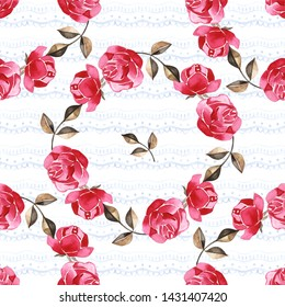 Watercolor hand-drawn beautiful seamless pattern with bouquets of bright peonies and foliage