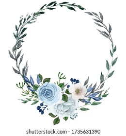 Watercolor handdrawn blue wreath. Circle frame clip art with blue flowers and leaves. Isolated floral Illustration. Perfect template for design, print, Wedding invitation, Birthday, Bridal shower