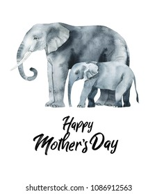 Watercolor hand-drawn card for Mother's Day. Hand painted realistic illustration animals isolated on white background. elephant and baby.