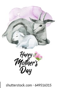 Watercolor hand-drawn card for Mother's Day. Hand painted realistic illustration animals isolated on white background. Goat and baby.