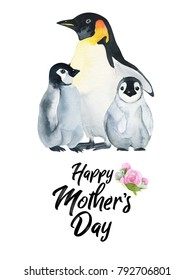 d3809d52b88a9 Watercolor hand-drawn card for Mother s Day. Hand painted realistic  illustration animals isolated on