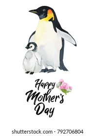 Watercolor hand-drawn card for Mother's Day. Hand painted realistic illustration animals isolated on white background. Penguin with a baby.