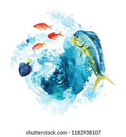 Watercolor hand-drawn mahi-mahi fish and goldfish illustration - jumping up, playful. Character, logo, children wallpaper, doodle, cartoon. Marine clip art. Ocean, sea inhabitant.