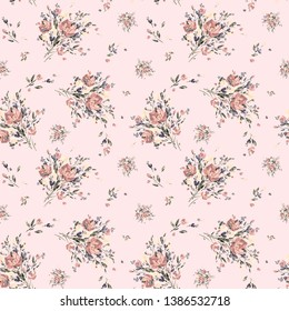 Watercolor hand-drawn on paper seamless pattern stylish bouquet of flowers. Background delicate bouquets for the design and decoration of textiles.