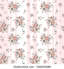 Watercolor hand-drawn on paper seamless pattern stylish bouquet of flowers. Excellent print for your design and decor.