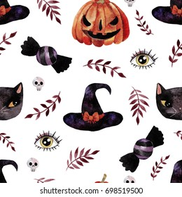 Watercolor handdrawn seamless pattern with Halloween elements. Perfect for wrapping papers, wallpapers, clothing.