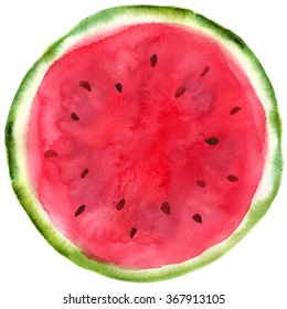 Watercolor hand-drawn sliced watermelon isolated on white background