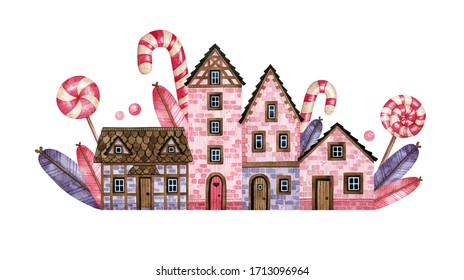 Watercolor hand-drawn street with rural houses and lollipops. Cute village street and candy's. Old European houses with wooden doors, tile roofs for postcards, invitation, packaging for sweets
