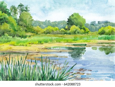 Watercolor hand-drawn summer landscape (sunny day)