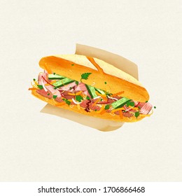 Watercolor hand-drawn Vietnamese food Banh Mi baguette bread illustration. Sandwich with  barbecue, meat, cucumber, onion, coriander, carot, chili...