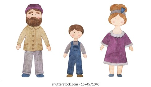 Watercolor handmade doll. Set with the cartoon girls. A good illustration for a sticker, a logo, a business card or a postcard. Doll, handmade, children's doll, interior doll.