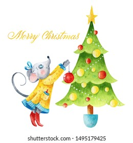 Watercolor handmade Xmas postcard composition in green, red, gold, and blue colors with a cute mouse in a dress, Christmas tree, and lettering Merry Christmas