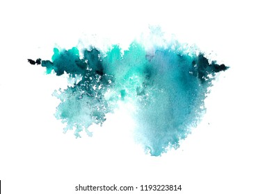 Watercolor hand-painted abstract spread colors stains illustration texture on white background