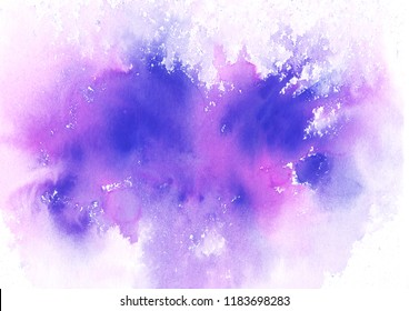 Watercolor hand-painted abstract spread purple magneta colors stains illustration texture on white background