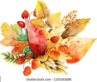 Watercolor handpainted autumn elements. Aquarelle autumn leaves, berries and flowers are arranged into a bouquet.