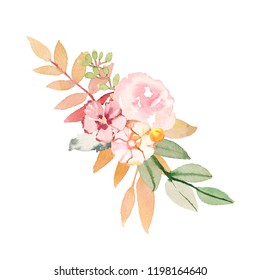 Watercolor hand-painted autumn leaves decoration composition illustration on white background