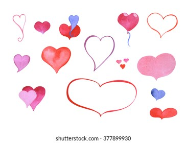 Watercolor hand-painted heart symbol: outlined and colored clipart elements for love and wedding cards design, party invitations, lettering, digital scrapbooking. Water texture isolated clip art