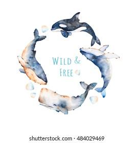 Watercolor handpainted pre-made template card with text.Wreath on white background with blue whale, fin whale and sperm whale.Beautiful illustration,perfect for your project,template card,invitations