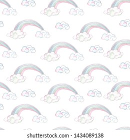 Watercolor handpainted seamless patterns with unicorns, crystals, rainbow, clouds, moon, stars, hearts, flowers, leaves,gold branches and twigs
