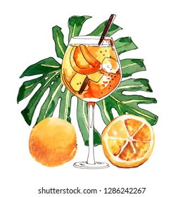 Watercolor hand-painted summer Aperol Spritz cocktail illustration on white background