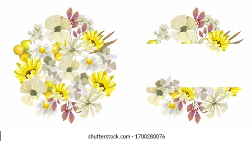 Watercolor hand-painted yellow flower banner with pink leaves isolated on white background. Healing herbs and flowers for postcards, wedding invitations, posters, save the date or greeting design.