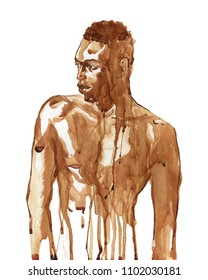 Watercolor handsome african man. Painting fashion illustration. Hand drawn portrait of muscular sexy guy on white background