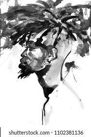 Watercolor handsome african man. Painting fashion illustration. Hand drawn portrait of young guy on white background with splashes
