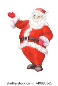 Watercolor handwork painting. Santa Claus with a raised hand.