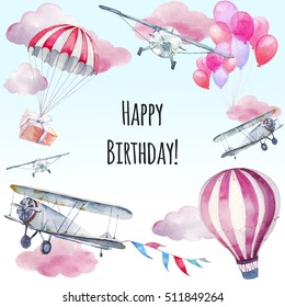 Watercolor Happy Birthday card. Hand painted card design: vintage airplane, flags garlands, hot air balloon, party air balloons, gift box on parachute on blue background. Boy greeting card