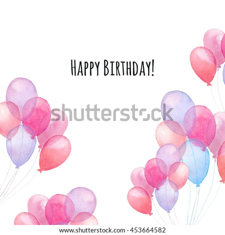 Watercolor Happy Birthday Card Hand Painted Stock Illustration