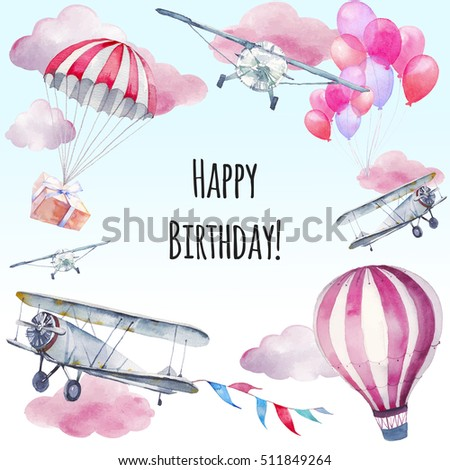 Watercolor Happy Birthday Card Hand Painted Design Vintage Airplane Flags Garlands