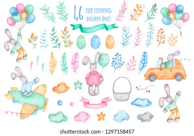Watercolor happy easter collection bunny rabbit with air balloons on car plane eggs basket flowers clouds ribbon isolated on white background. Spring holiday birthday children decoration illustration