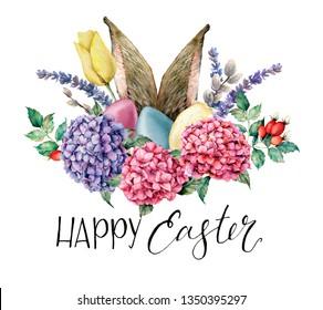 Watercolor Happy easter floral and rabbit ears card. Holiday illustration with hyarangea, eggs, lavender, tulip and dog rose isolated on white background. Nature illustration for design or fabric