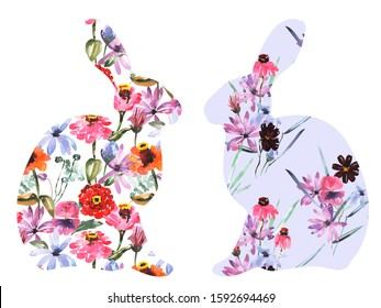 Watercolor happy Easter rabbit silhouette with flower pattern. Stock illustration for textile decoration print, greeting card, spring decor, wrapping paper.