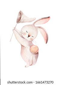 Watercolor happy easter set with baby bunnies design. Rabbit bunny kids illustration isolated on white. Hand drawn Easter cartoon forest hare animal bunny holiday funny  Nursery poster design