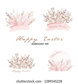 Watercolor happy easter set with willow flowers and cotton flowers.Cute isolated illustration on white for your easter design.