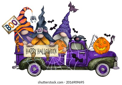Watercolor Happy Halloween Truck with Cute Gnomes and Pumpkins in bright colors