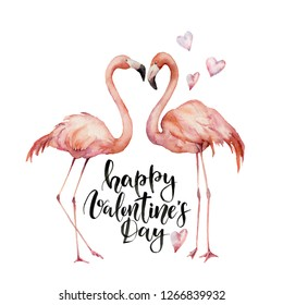 Watercolor Happy Valentine's Day card. Hand painted Flamingo couple with hearts and lettering isolated on white background. Holiday illustration for design, print, background. Love concept.