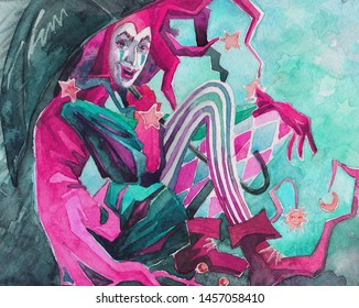 Watercolor Harlequin, jester, joker, clown with umbrella, rain. Illustration.