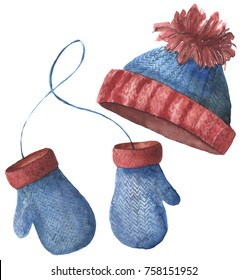 Watercolor hat and mittens. Hand painted knitted clothes isolated on white background. Winter illustration for design