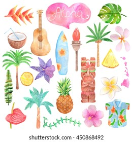 Watercolor Hawaii icon set isolated on white background