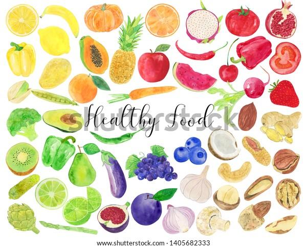 Illustration De Stock De Illustration A L Aquarelle D Une Alimentation Saine 1405682333