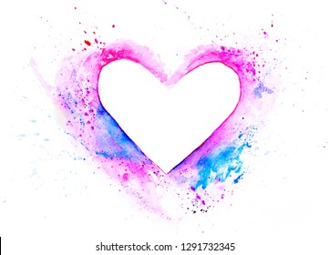 Watercolor heart background. Valentine`s day minimal concept Colorful abstract texture frame. Vintage red heart Top View Copy Space