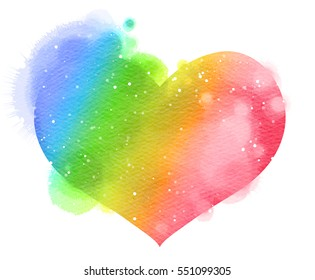 Watercolor heart. Concept about love and relationship. Digital art painting.