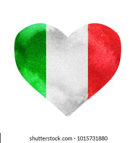 Watercolor heart flag background.Italy