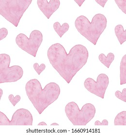 Watercolor heart seamless pattern. Сoncept valentine, Happy Anniversary, wedding. Hand painted texture perfect for holiday invitations, greeting cards, scrapbooking, print, gift wrap, manufacturing.